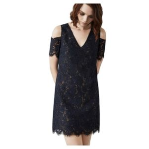 BCBGMAXAZRIA Navy Nude Celestia Midi Dress